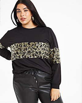 Leopard Print sequin panel sweatshirt