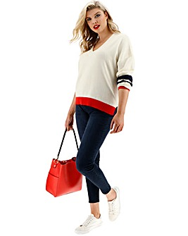 Oasis Curve Flash Stripe V Neck Jumper