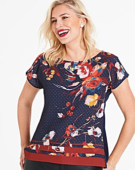 Anna Field Printed Woven Front Tee