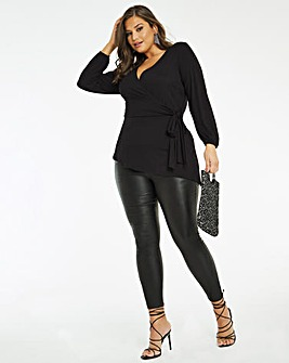 Black Tie Side Balloon Sleeve Top