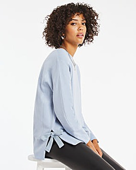 Light Blue Tie Side Sweatshirt