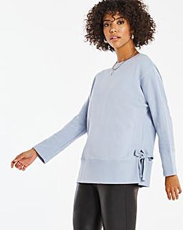 Light Blue Tie Side Sweatshirt