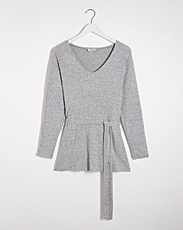 Super Soft Ribbed Tie Waist Tunic