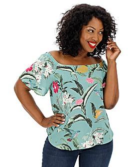 Vero Moda Floral Print Bardot Top