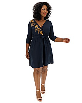 Junarose Embroidered Wrap Dress