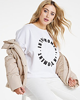 Oversized Graphic Print Front Sweatshirt