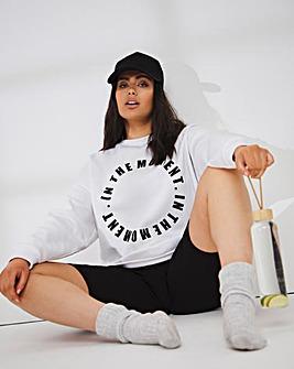 Oversized Graphic Print Front Sweatshirt