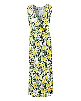 Junarose Silke Lemon Print Maxi Dress