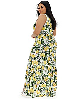 Junarose Lemon Print V Neck Maxi Dress