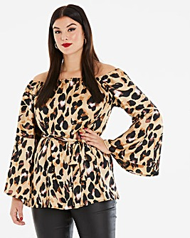 Ax Paris Satin Leopard Bardot Top