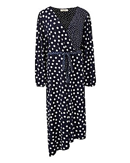 Oasis Curve Mono Spot Detail Midi Dress