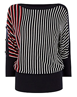 Oasis Curve Stripe Jumper With Buttons