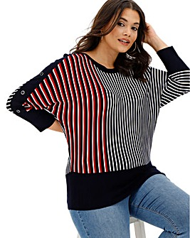 Oasis Curve Tanya Stripe V With Buttons