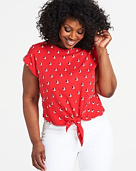 Oasis Curve Boat Print Top