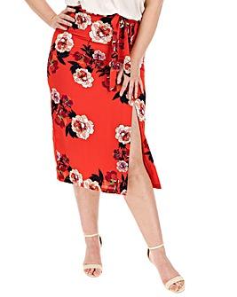 Oasis Curve Floral Midi Skirt