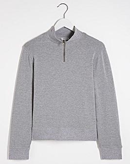 Grey Zip Detail Sweatshirt