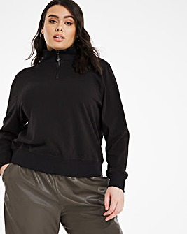 Black Zip Detail Sweatshirt