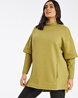 Double Layer Sleeve Sweaterdress