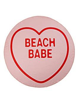 Love Heart Beach Babe Round Towel
