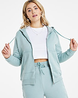 Steel Blue Zip Through Hoodie