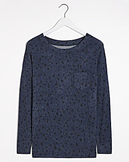 Blue Spot Print Soft Touch Pocket T-shirt