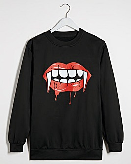 Fangs Slogan Halloween Sweatshirt