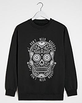 Skull Slogan Halloween Sweatshirt