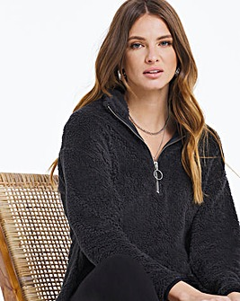 Graphite Teddy Fleece Zip Tunic