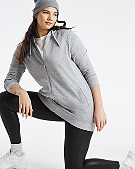 Grey Marl Longline Zip Through Hoodie