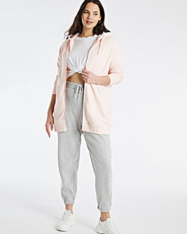 Pink Longline Zip Through Hoodie