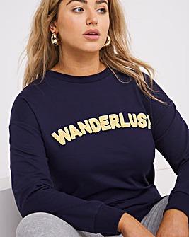 Blue Wanderlust Longline Sweatshirt