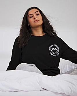 Varsity Black Self Care Club Sweatshirt