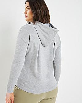 Grey Pleat Back Hoodie