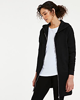 Split Seam Longline Zip Through Hoodie