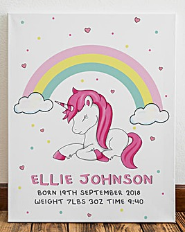 Personalised Unicorn Canvas