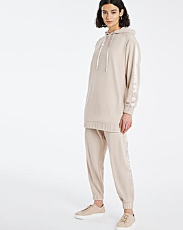 Satin Trim Soft Touch Longline Hoodie