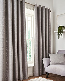 Dotty Metallic Blackout Eyelet Curtains