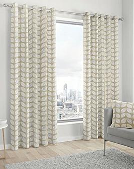 Fusion Delft Printed Eyelet Curtains