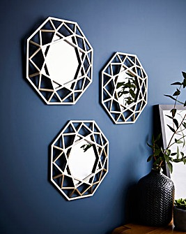 Set of 3 Octagon Mirrors