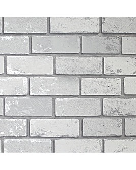 Metallic Brick White Silver Wallpaper