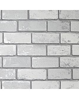 Metallic Brick White Silver Wallpaper