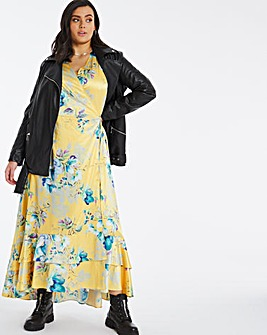 Joanna Hope Print Tiered Wrap Dress