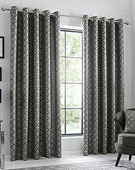 Oriental Squares Eyelet Curtain