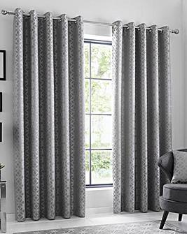 Oriental Squares Eyelet Curtains
