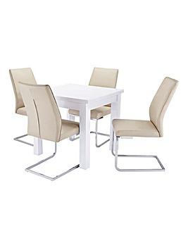 Halo High Gloss Table 4 Atlanta Chairs