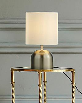 Georgia Satin Silver & White Touch Lamp