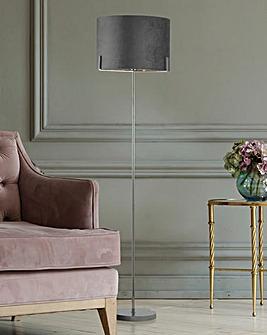 Harley Grey Velvet Floor Lamp