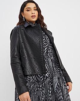 Joanna Hope Studded Leather Jacket