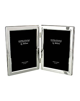 Silverplated Hinged Double Photo Frame