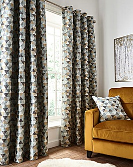 Zada Linear Geo Jacquard Eyelet Curtains